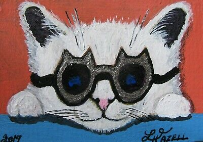 """A654     0Riginal Acrylic Aceo Painting By Ljh """"Oriental Shorthair"""" Cat Kitten 9"""