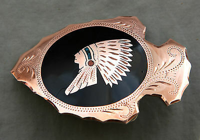Vtg Johnson Held Turquoise Coral Indian Chief Inlay Handmade Western Belt Buckle 2