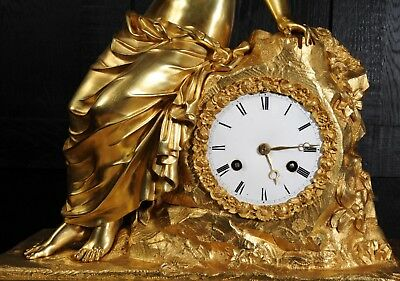 EARLY FINE BRONZE DORE ORMOLU ANTIQUE FRENCH CLOCK PSYCHE and the BUTTERFLY 1820 10