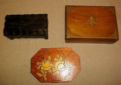 tres joyeros de madera y metal ( vintags) 21- 18 - 20 ctms largo 2