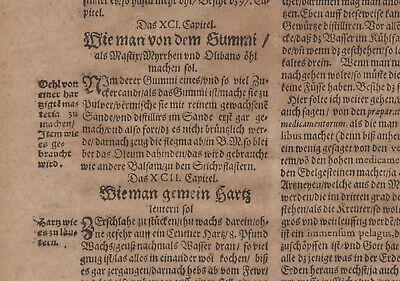 Gummi Mastix ÖL Apotheker Orig Textblatt um 1620  Medizin Arzt Balsam Rosenöl 4