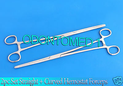 """New 2pc Set 12"""" Straight + Curved Hemostat Forceps Locking Clamps Stainless 2"""