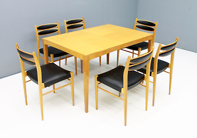 60er Years Dining Area Table & 6 Chairs Cherry & Leather Table Dining Room 60s 7