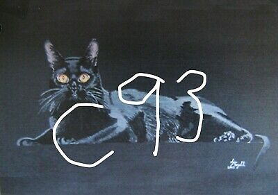 "C439        Original Acrylic Painting By Ljh    ""Vader""    Black Cat 6"