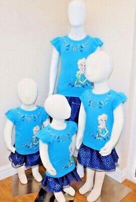 Disney Frozen Little Girls 2-Piece Elsa T shirt & Scooter Skirt Set OFFICIAL DIS 8