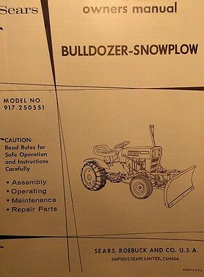 SEARS CUSTOM 6 Lawn Riding Garden Tractor Owner & Parts Manual 24pg  917 99810