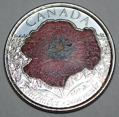 Canada 2015 25 cents Coloured Poppy UNC from roll - BU Canadian Quarter 2