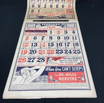 Dr Miles Nervine QUACK MEDICINE Advertising 1939 Drug Store 12 pg Calendar 13x10 2