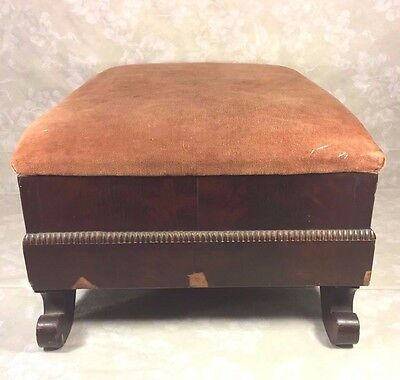 Antique Empire Mahogany Footstool w/ Upholstered Top 5
