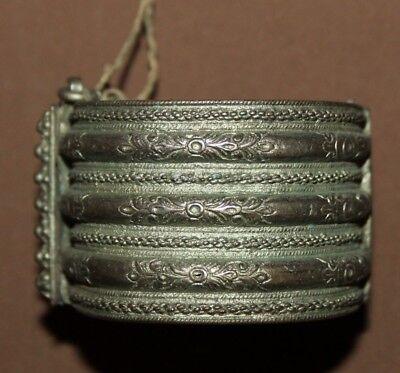 Antique Greek Folk ornate floral Silver Hinged Bracelet 2