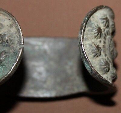 Antique medieval bronze woman fertility bracelet with cross