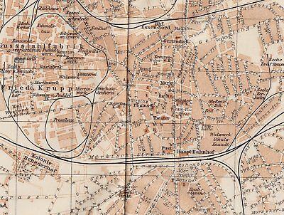 1911 Antique Map Of Essen / North Rhineland-Westphalia Germany 2