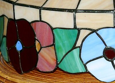 Vintage Slag Stained Glass Shade Flowers Hanging Ceiling Light Fixture Lamp 4