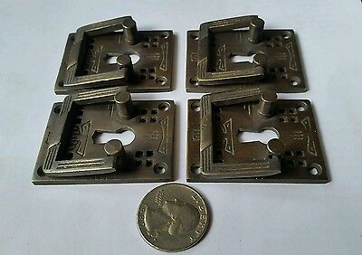 """4 Antique Style Arts and Crafts Mission Brass Handles Pull w. escutcheon 2"""" #H27 5"""