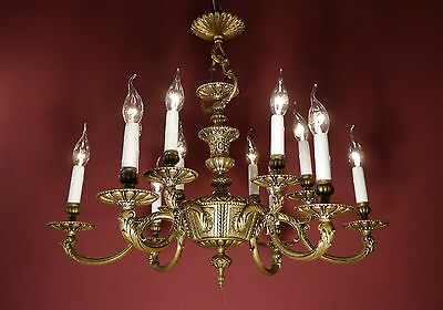 Rare Fine French Brass Chandelier Vintage Old Lamp Ancient 2