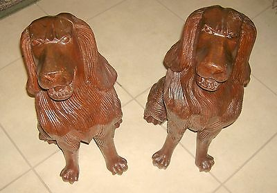Antique Beautifully Carved and Detailed Mahogany Fireplace Dogs (2) 12