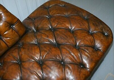 Howard & Son's Restored Brown Leather Chesterfield Chesterbed Walnut Framed 8