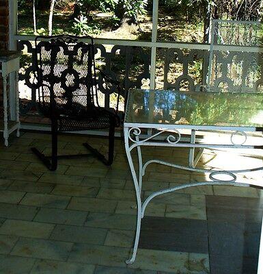 Antique   wrought iron  patio table   garden decor glass top 6