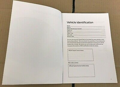 NEW TOYOTA SERVICE BOOK NOT DUPLICATE COVERS ALL MODELS GT86 HILUX IQ VERSO