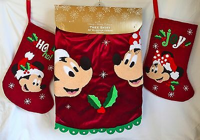 2 Of 3 NEW Disney Parks Santa Mickey U0026 Minnie Mouse Holly Holiday Christmas  Tree Skirt