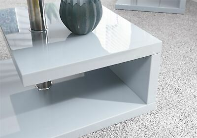 Polar High Gloss Led Coffee Table Lounge Table W Shelf Grey