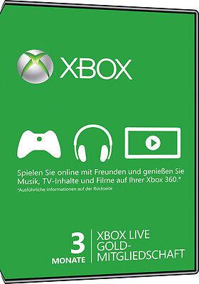 Xbox Live Gold Mitgliedschaft - 3 Monate Key Xbox 360 One 3 Month Code Card Neu 2