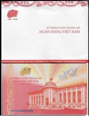 Vietnam 100 Dong 2016 Commemorative 65 Year National Bank Unc + Folder 3
