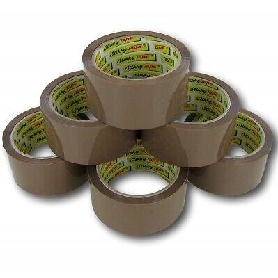 12 Rolls Of Brown Buff Parcel Packing Tape Packaging Carton Sealing 48mm X 66m 3