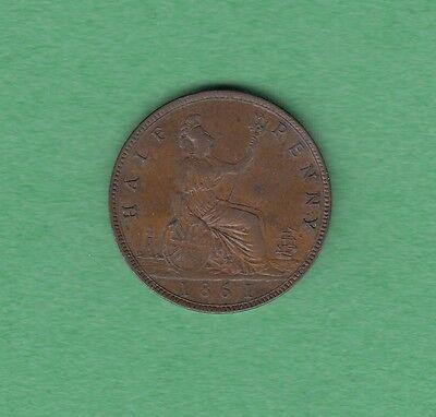 1861 Great Britain 1/2 Penny Coin - Queen Victoria - AU