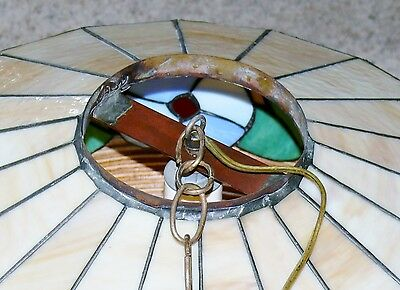 Vintage Slag Stained Glass Shade Flowers Hanging Ceiling Light Fixture Lamp 7