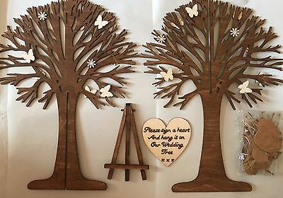 Personalised Wooden Wedding Party Guest Book Wish Tree Card & Wooden Hearts Love