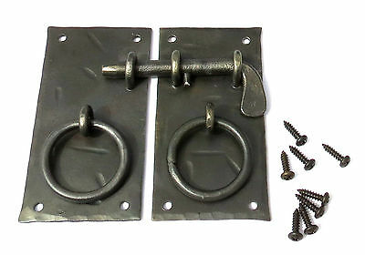 "HANDMADE 4.15""  SQUARE CABINET DOOR LATCH + HANDLES Antique Iron Cupboard Lock 4"