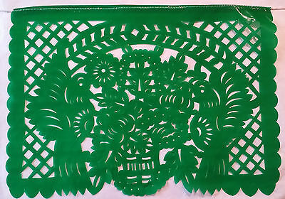 Plastic Mexican Traditional Plastico Papel Picado Cutout Flags Bunting 14x11