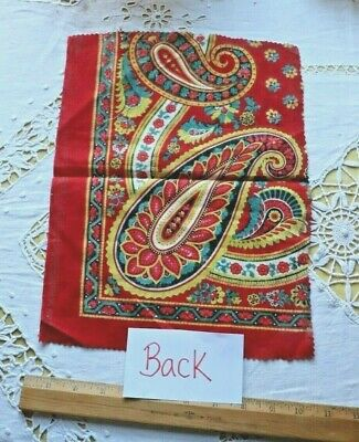 Antique French Block Printed Turkey Red Cotton Fabric c1860-70~Bandana~Paisley 4