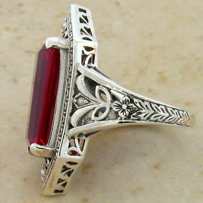 9 Ct. Lab Ruby Antique Victorian Design .925 Sterling Silver Ring Size 10,  #473 4