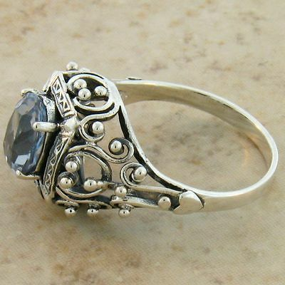 Antique Victorian Design Sim Aquamarine .925 Sterling Silver Ring,          #386 4
