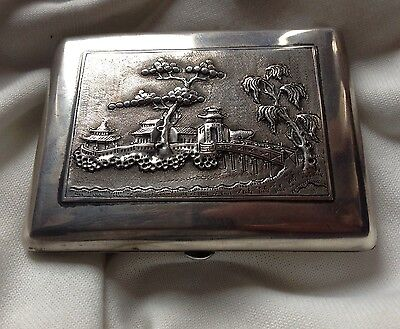 Chinese Antique Handmade Sterling Silver Cigar Box House Tree Relief Stamp Seal 4