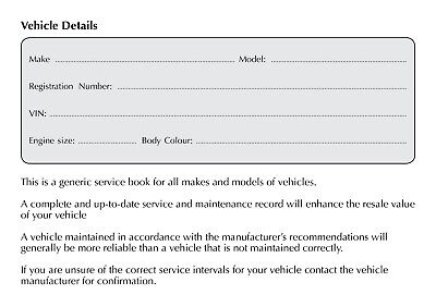 Vehicle Service Book - Blank History Book Maintenance Record Replacement Car Van 3