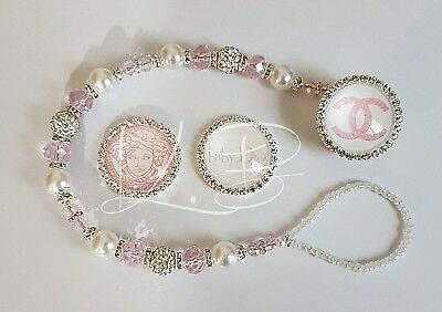 Bling *Diamante Button* Shamballa Romany Dummy Clip Girl *Any Name* Pink/white 2