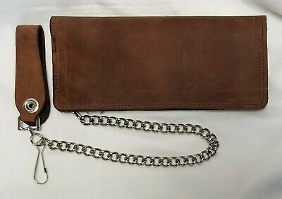 """Brown Leather Trucker Wallet Buffalo Nickel Snaps 7.5/"""" x 3.5/"""" With 12/"""" Chain USA"""
