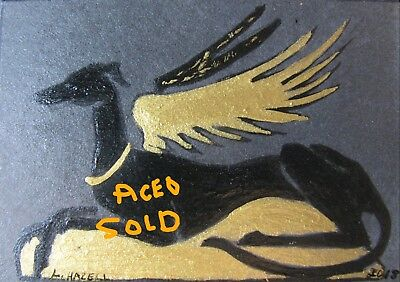 "A847     Original Acrylic Aceo Painting By Ljh ""Folk Art Cat"" 12"