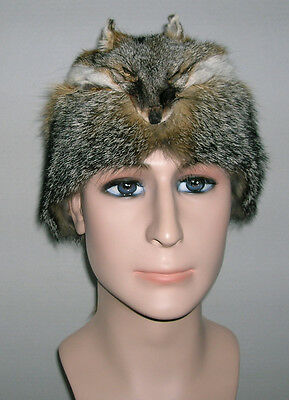 fur//pelt//skin//hide NEW GRAY FOX MOUNTAIN MAN FUR HAT WITH FACE MADE IN USA