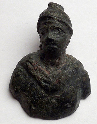 Ancient Roman MARS BUST Miniature Amulet of Protection Figure of Soldier i44981