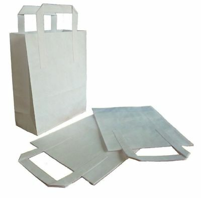 Brown or White Kraft Paper SOS Flat Handle Party Paper Bags Takeaway Loot Gifts 5