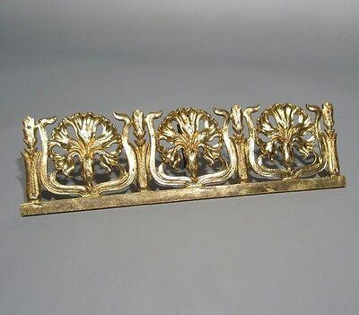 Antique French Art Nouveau Gilded Bronze Furniture Decoration, Carnations 3