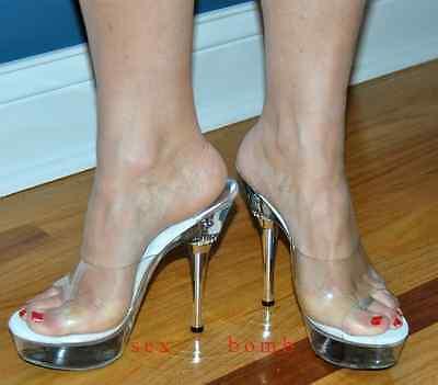 SEXY sabot SANDALI TRASPARENTI tacco STRASS 14 dal 35 al 43 fashion GLAMOUR ! 3