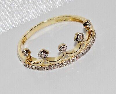 9ct Gold 0.10ct Diamond Crown Ring size J UK Hallmarked