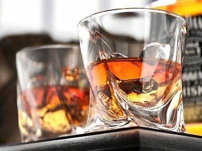 Transparent, Crystal Quadro Tumbler 340ml Whisky Spirit Glasses   Set of 2, 4, 6