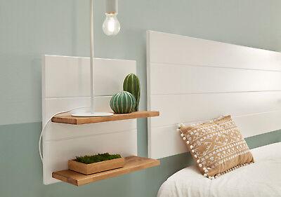Hogar24- Cabecero blanco + 2 mesitas colgantes blancas con estantes color madera 2