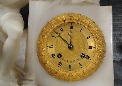Early Antique French Alabaster Clock Set Cupid Menacing Love C1820 12